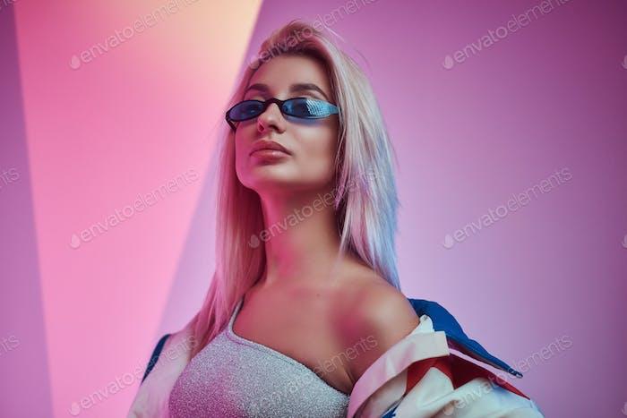 Portrait of beautiful model at photo studio