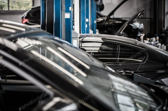 Cars in Auto Service Center