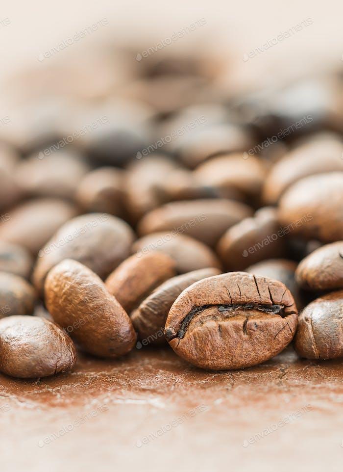 Heap of roasted brown coffee bean