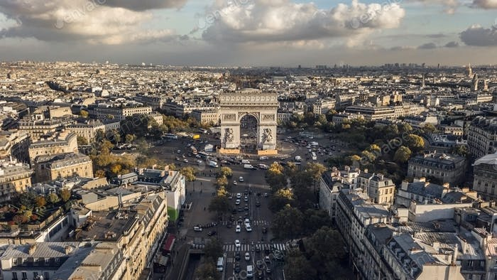 Aerial view of Triumphal Arch in Paris