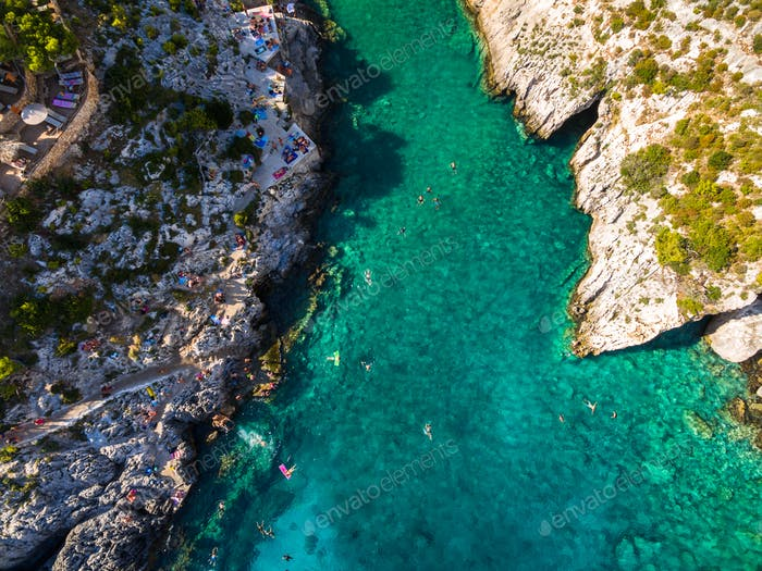Aerial  view of Porto Vromi beach in Zakynthos (Zante) island, i