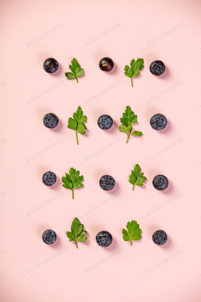 Pattern of blueberry and parsley leaves