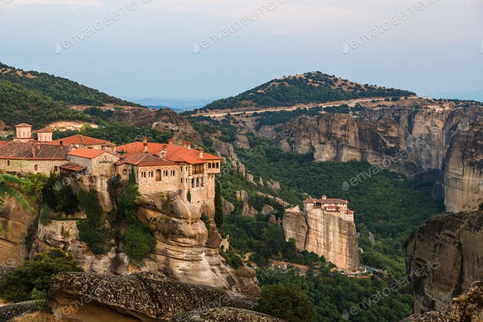 The Holy Monastery of Varlaam at foreground in Meteora, Greece