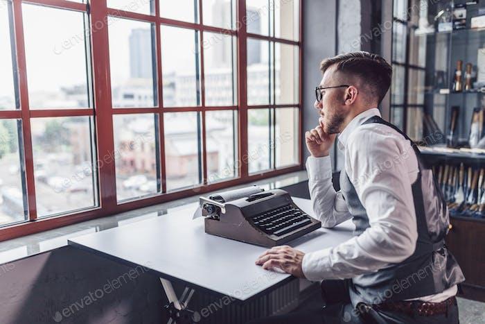 Thinking writer at work