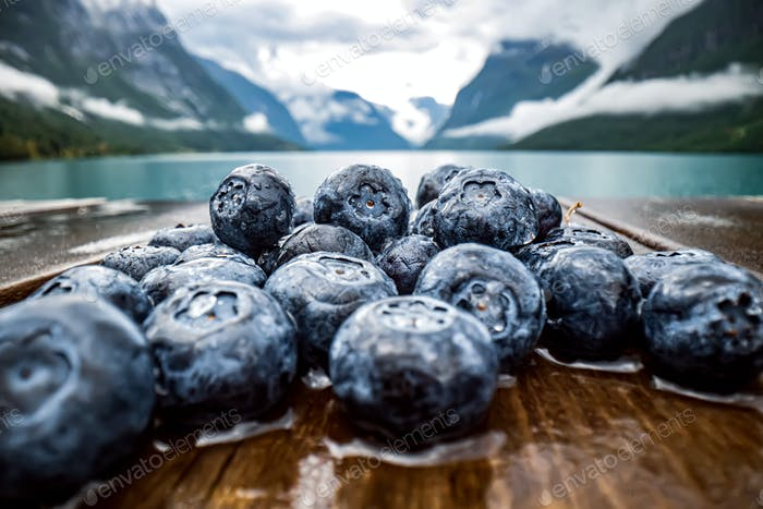 Blueberry antioxidants on a wooden table on a background of Norwegian nature.
