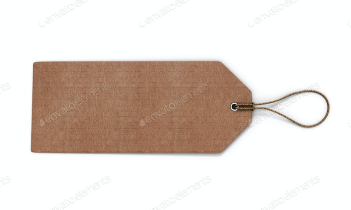Cardboard label isolated on white background. Blank cardboard ta