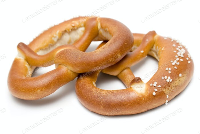 Two Pretzels Isolated on a White Background
