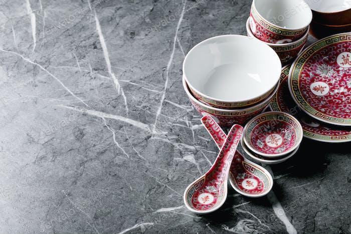 Variety of empty japanese ceramic plates