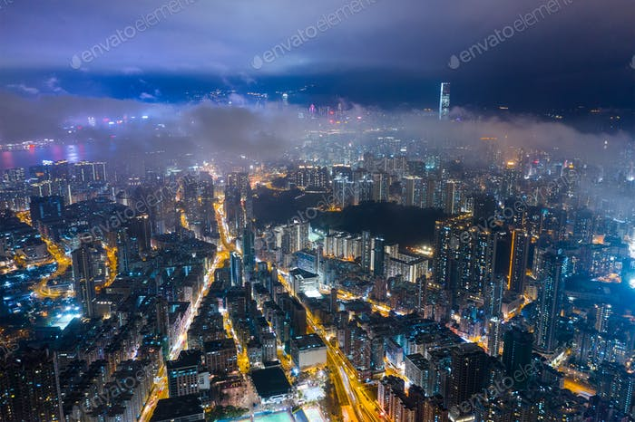 Kowloon, Hong Kong 29. Februar 2019- Hong Kong Stadt bei Nacht