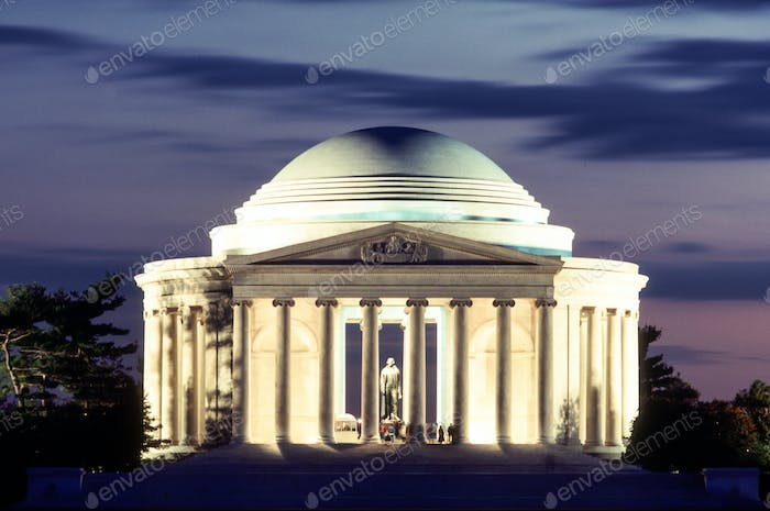 People Still Walk the grounds at the Jefferson Memorial in Washington