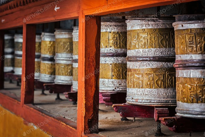 Buddhist prayer wheels in Hemis monstery, Ladakh