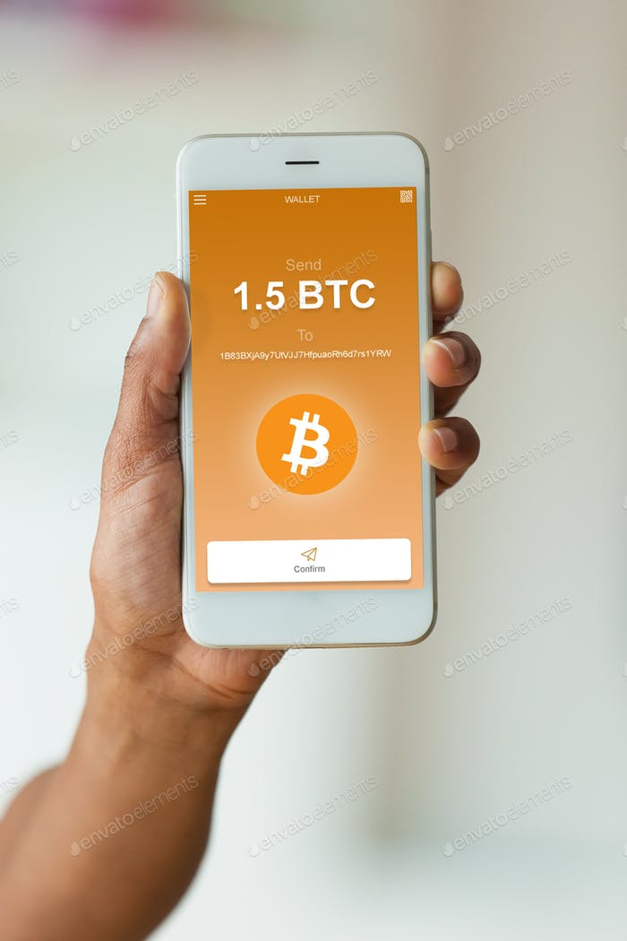 African american person sending a bitcoin btc crypto transaction