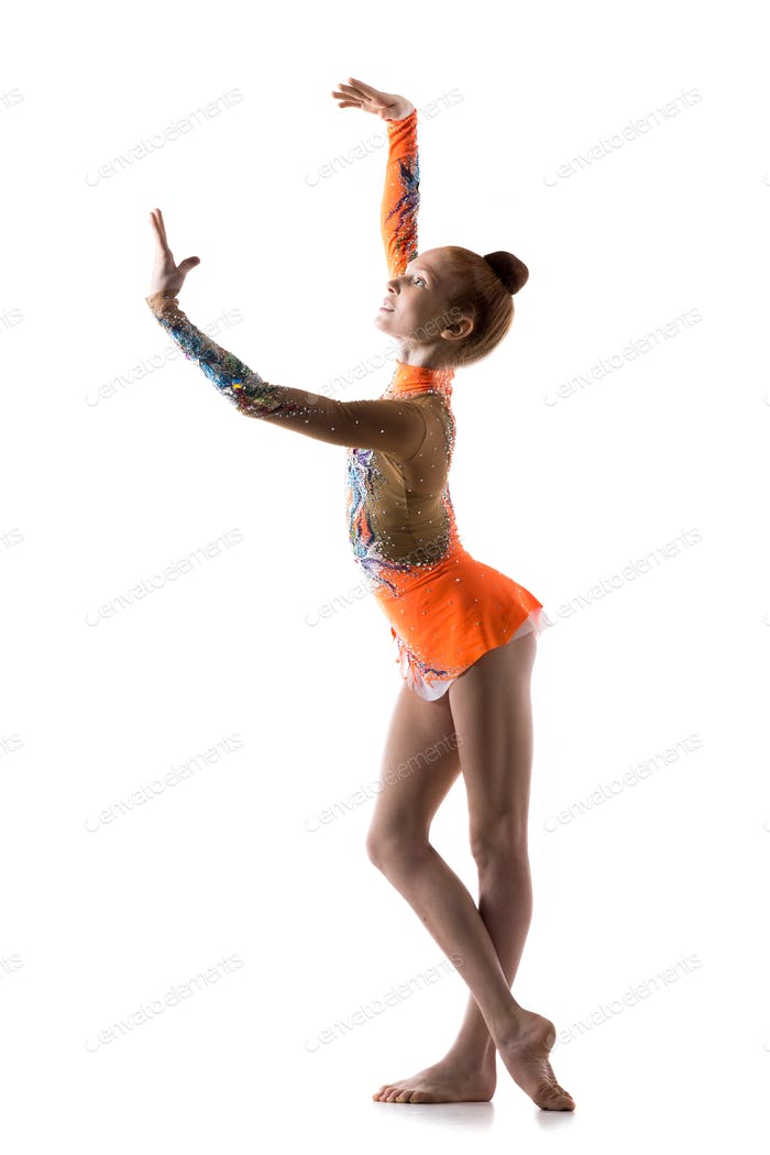 Teen ballerina girl dancing