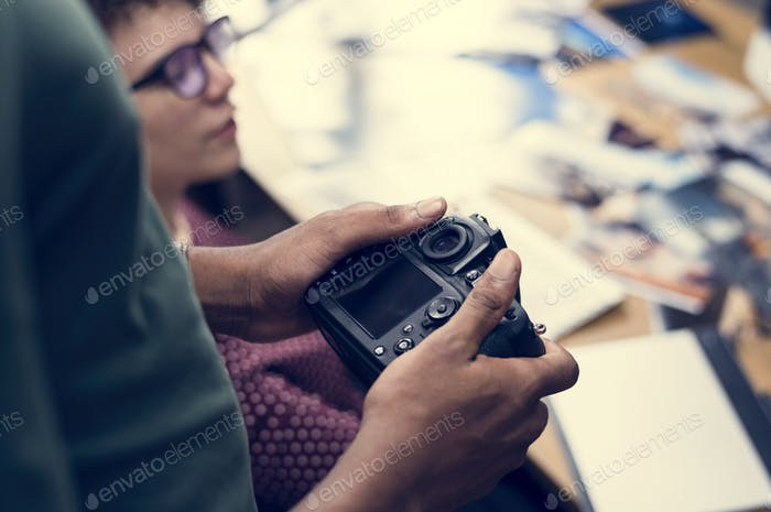 Businesswoman working with camera