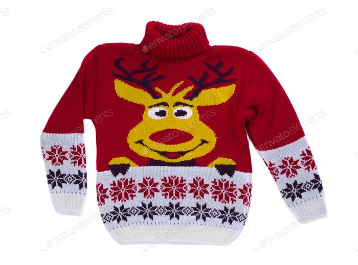 Red knitted sweater with a deer.