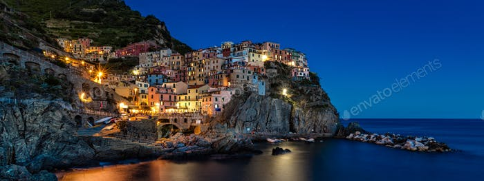 Manarola Cinque terre in the blue hour