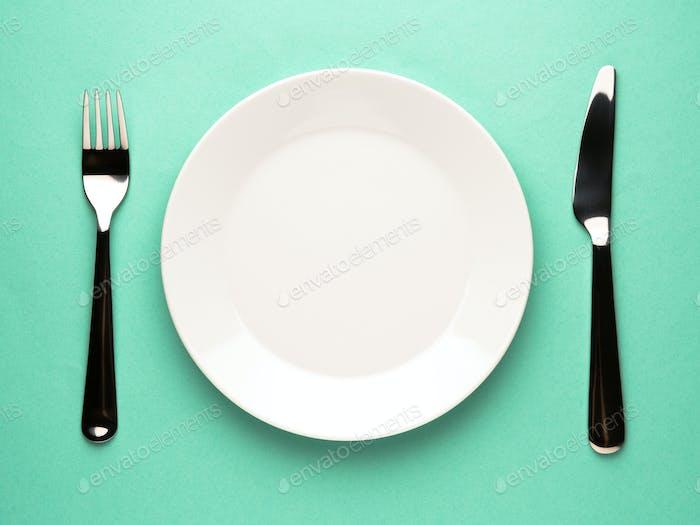 plate, fork, knife