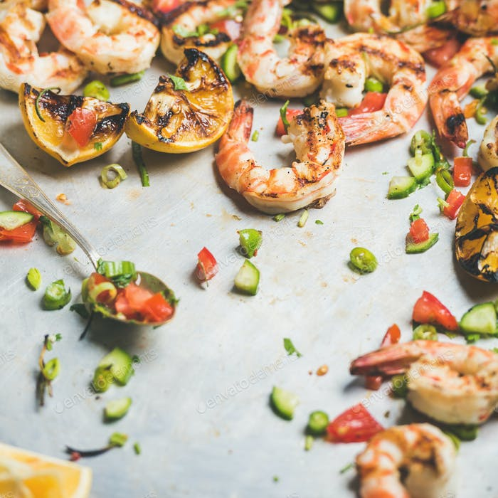 Grilled tiger prawns with lemon and mint salsa, square crop