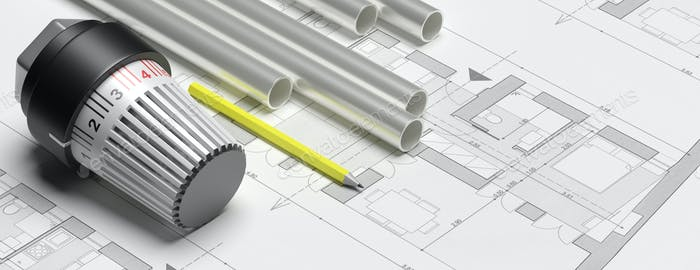 Radiator thermostat, building heating installation. 3d illustration