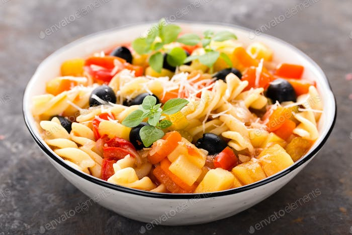 Minestrone, italian vegetarian soup with pasta and vegetables