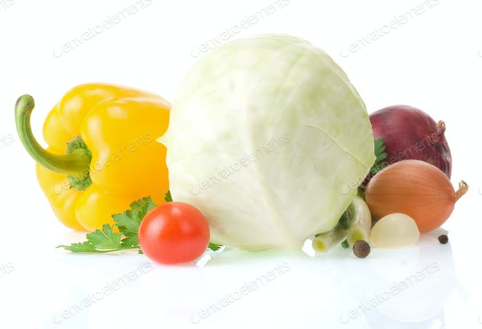 healthy vegetable food isolated on white