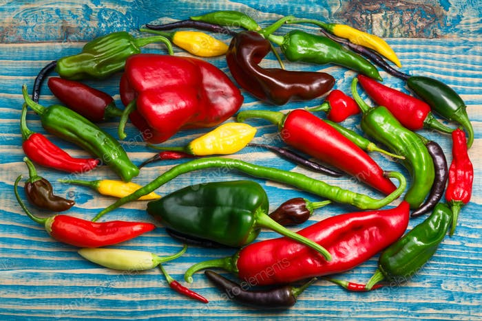 Colorful chile mix, top view
