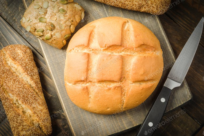 rustic bread baked with seeds
