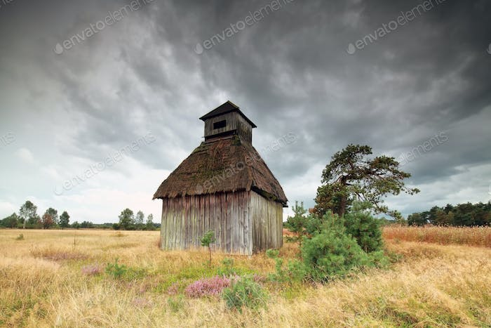 old wooden hut during clouded day