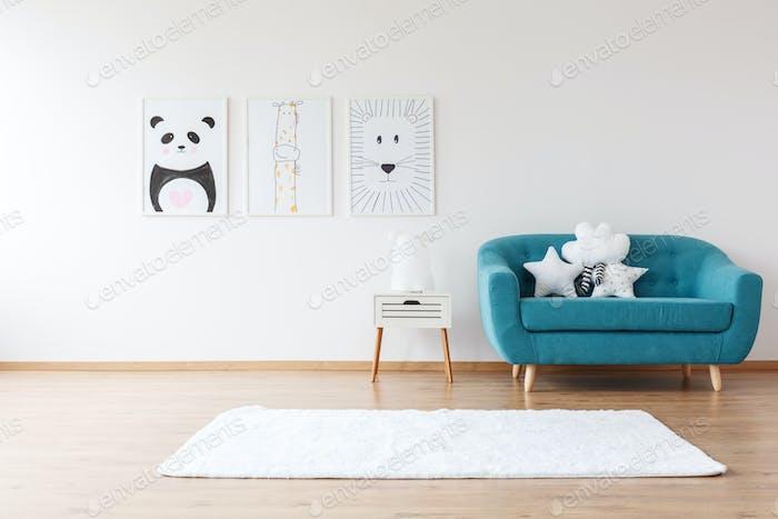 Aquamarine sofa in kid's room