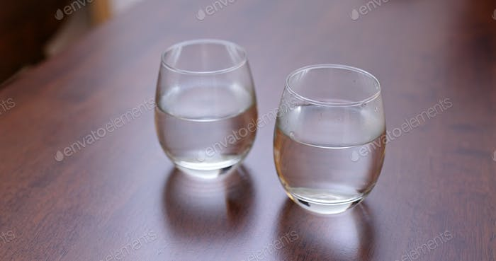 Two glass of water on the table