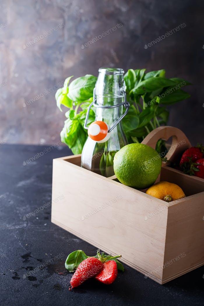 Ingredients of summer drinks, dietary healthy cocktails.