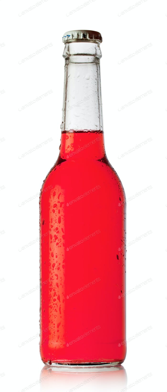 Bottle of red cocktail with drops