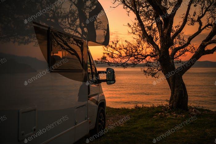 RV Camper Van Scenic Sunset