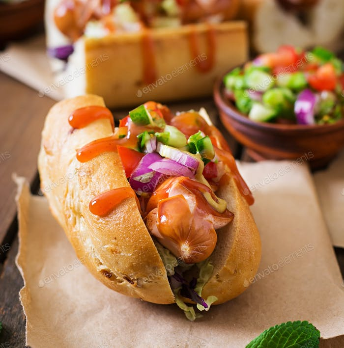Hot dog - sandwich with Mexican salsa on wooden background.