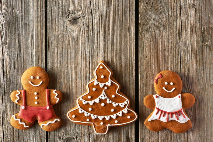 Christmas gingerbread couple and tree cookies