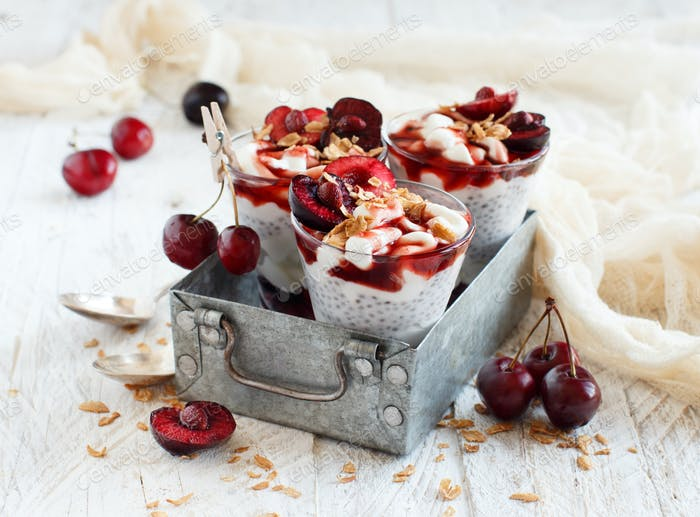Cherry and yogurt chia pudding parfait