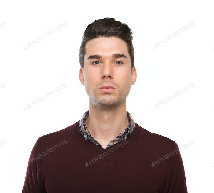 Close up portrait of a smart young man