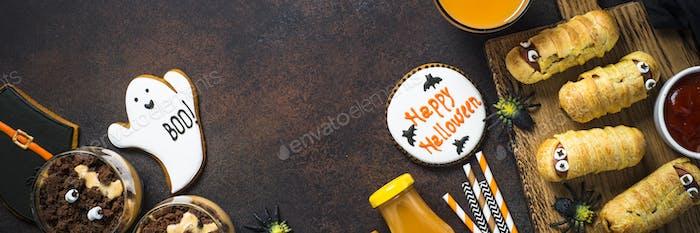 Halloween-Lebensmittelsortiment Draufsicht