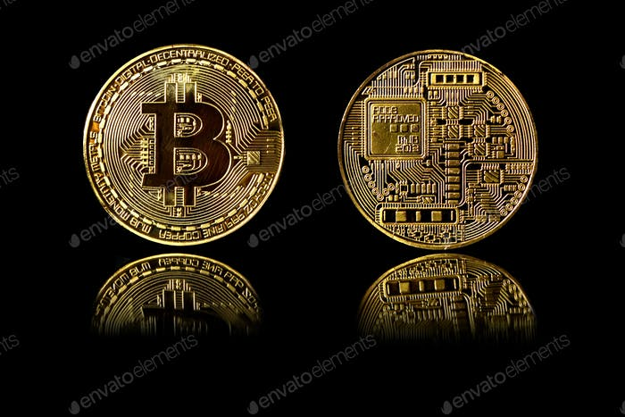Bitcoin gold coin on black