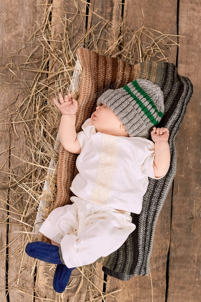 Baby boy in knitted hat