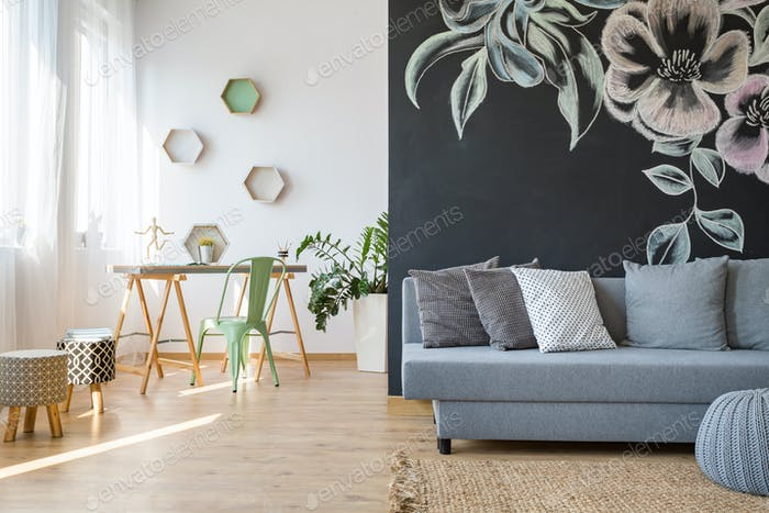Spacious room with sofa