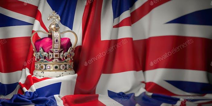 Royal golden crown with jewels on british  flag. Symbols of UK U