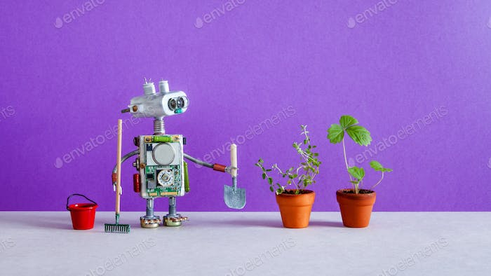 Robot gardener breeder with bucket shovel rake and sprouts