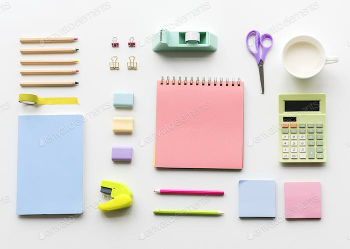 Blank notebook and other objects