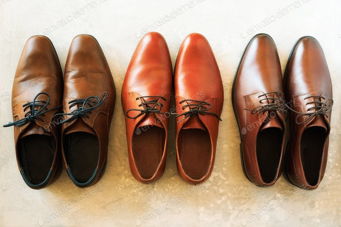 Men shoes collection - different models and brown colors. Top view. Sale and shopping concept