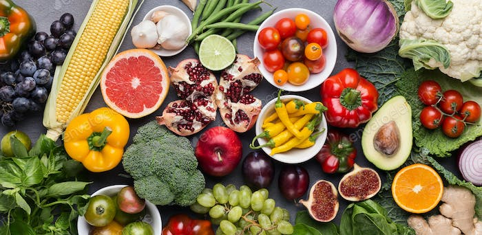 Assorted fresh ripe fruits and vegetables background