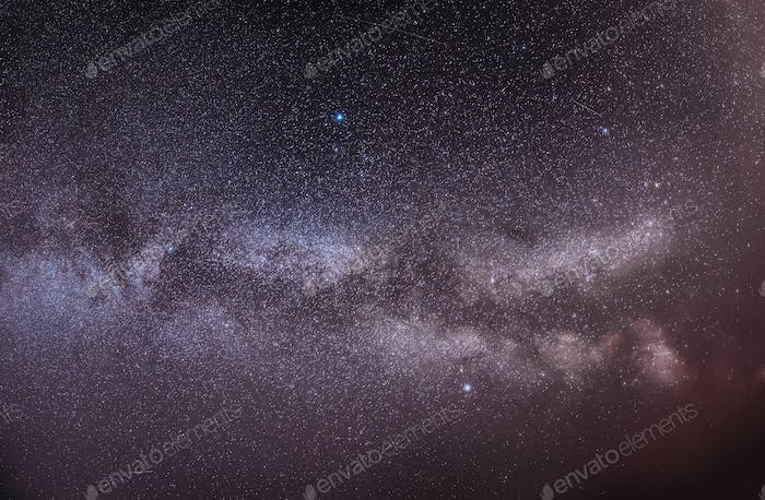 Real Night Sky Stars With Milky Way Galaxy. Natural Starry Sky B