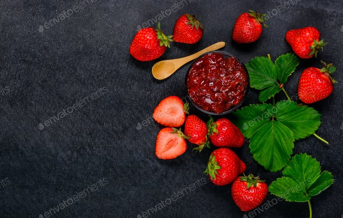 Strawberries and Strawberry Jam with Copy Space