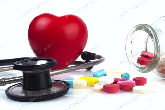 Stethoscope Colseup and Pills
