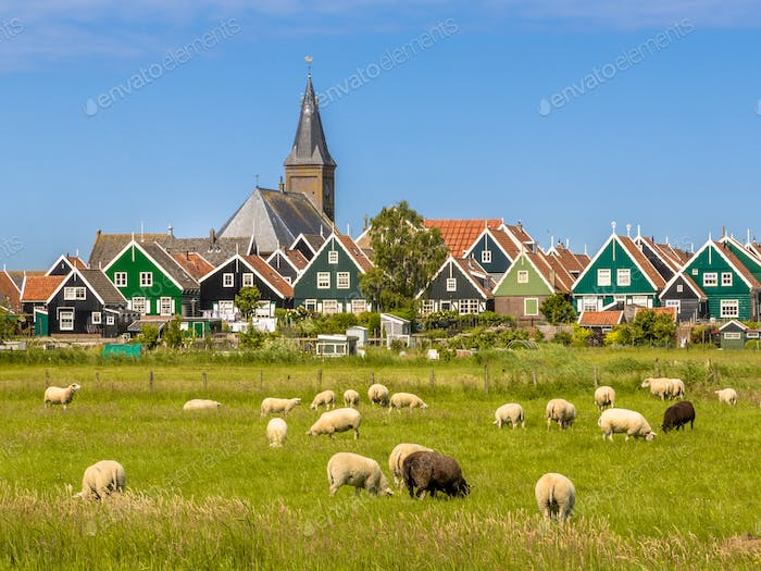Panorama of Colorful wooden houses with church in Dutch Village